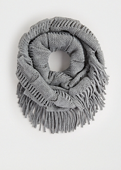 Gray Fringed Knit Infinity Scarf