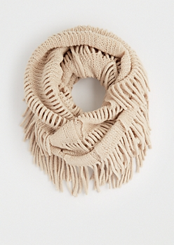 Taupe Fringed Knit Infinity Scarf