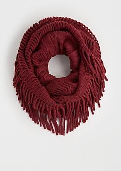 Burgundy Fringed Knit Infinity Scarf