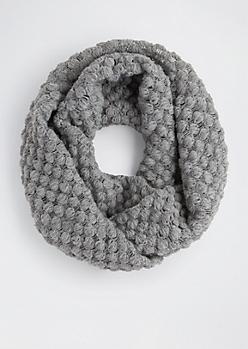 Gray Popcorn Knit Infinity Scarf