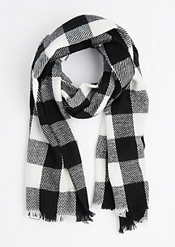 White Buffalo Plaid Frayed Scarf