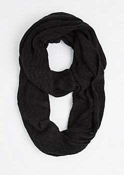 Black Raised Chevron Infinity Scarf