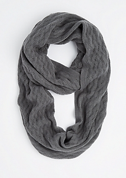 Gray Raised Chevron Infinity Scarf