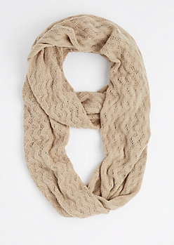 Taupe Raised Chevron Infinity Scarf