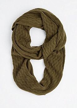 Olive Raised Chevron Infinity Scarf