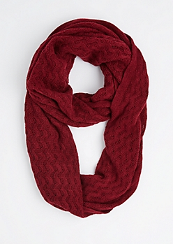 Burgundy Raised Chevron Infinity Scarf