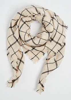 Taupe Windowpane Plaid Square Scarf