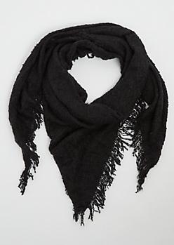 Black Boucle Blanket Scarf