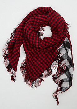Mixed Plaid Triangle Blanket Scarf