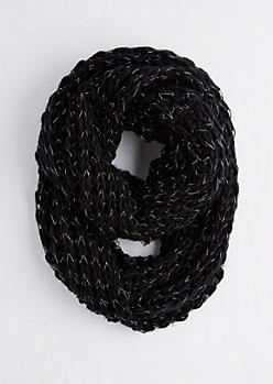 Black Metallic Chunky Knit Infinity Scarf