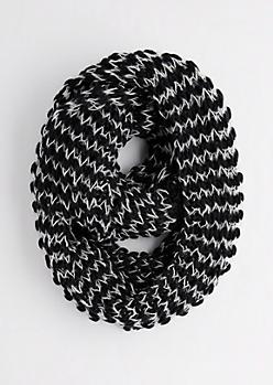 Black & White Chunky Knit Infinity Scarf