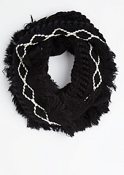 Diamond Crochet Tassel Bordered Infinity Scarf