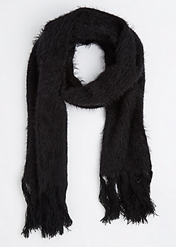 Black Eyelash Fringe Oblong Scarf