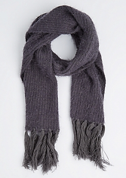 Grey Eyelash Fringe Oblong Scarf