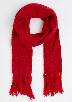 Red Eyelash Fringe Oblong Scarf