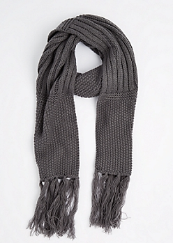 Gray Waffle Ribbed Oblong Scarf