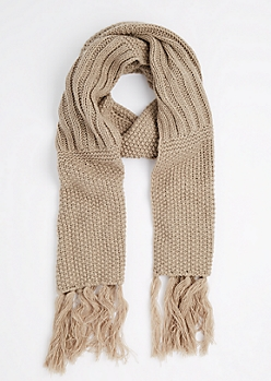 Tan Waffle Ribbed Oblong Scarf