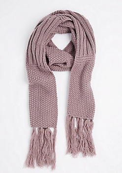 Violet Waffle Ribbed Oblong Scarf