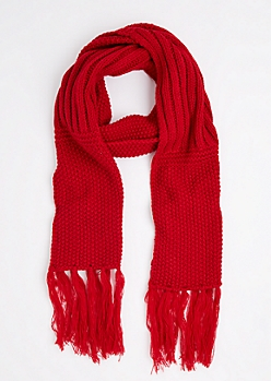 Red Waffle Ribbed Oblong Scarf