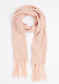Pink Waffle Ribbed Oblong Scarf