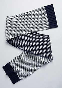 Navy & White Dot Stitched Scarf