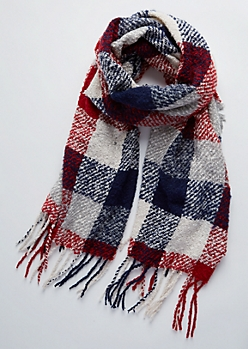 Red Plaid Boucle Fringe Scarf