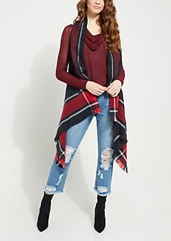 Red Plaid 2-in-1 Scarf
