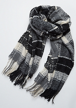 Gray Plaid Frayed Blanket Scarf