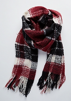 Red Plaid Frayed Blanket Scarf