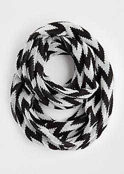 Black Chevron Knit Infinity Scarf