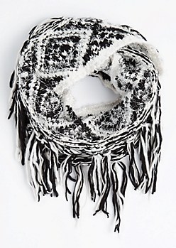 Geo Diamond Fringed Infinity Scarf
