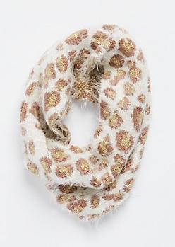 Foiled Leopard Eyelash Knit Infinity Scarf