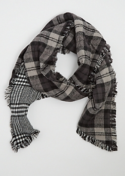 Black Plaid Fringed Blanket Scarf