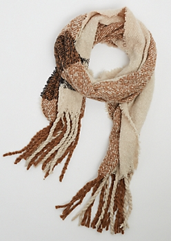 Tan Plaid Boucle Blanket Scarf