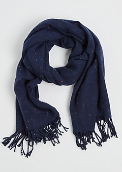 Navy Speckled Blanket Scarf