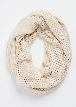 Pointelle Knit Infinity Scarf
