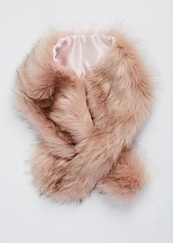 Pink Faux Fur Scarf