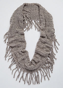 Gray Chunky Knit Fringed Infinity Scarf
