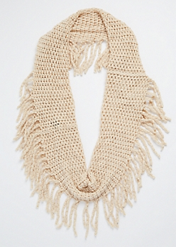 Oatmeal Heather Chunky Knit Fringed Infinity Scarf