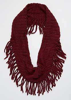 Burgundy Chunky Knit Fringed Infinity Scarf