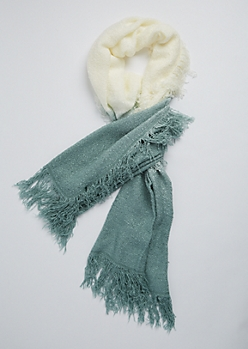 Mint Ombre Boucle Fringe Scarf