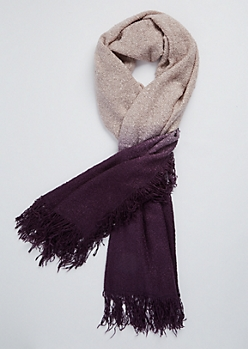Purple Ombre Boucle Fringe Scarf