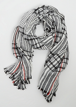 Black & Red Striped Blanket Scarf