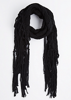 Black Diamond Crochet Fringed Oblong Scarf