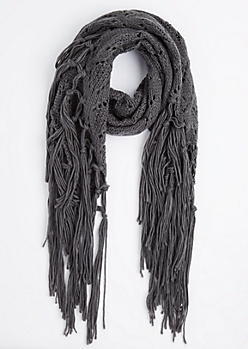 Gray Diamond Crochet Fringed Oblong Scarf