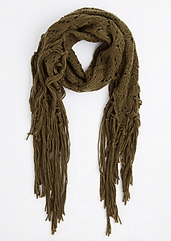 Olive Diamond Crochet Fringed Oblong Scarf
