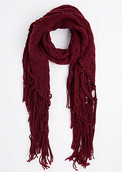 Burgundy Diamond Crochet Fringed Oblong Scarf
