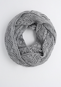 Gray Open Cable Knit Infinity Scarf