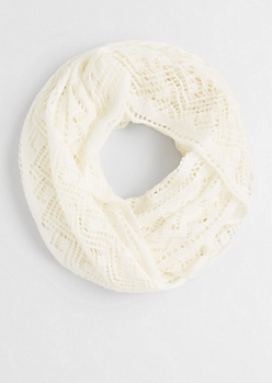 White Open Cable Knit Infinity Scarf