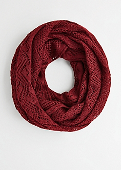 Burgundy Open Cable Knit Infinity Scarf